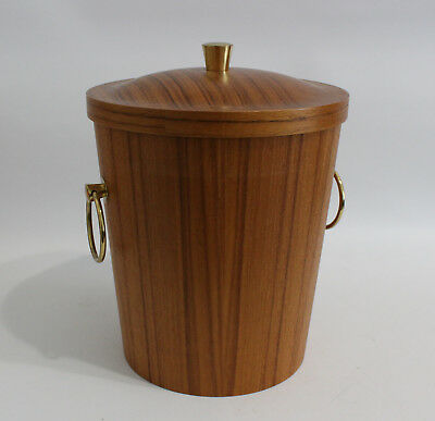Teak & Messing Henkel Design Eiseimer 60s 70s Brass Ice Bucket 60er 70er Danish