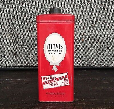 Mavis Imported Talcum Vintage Red Powder Tin,  - Vivaudou