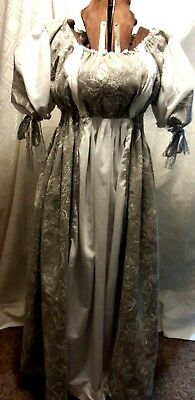 Women's Empire, Edwardian Gown Gray and White Linen  w/ White Inserts XLG