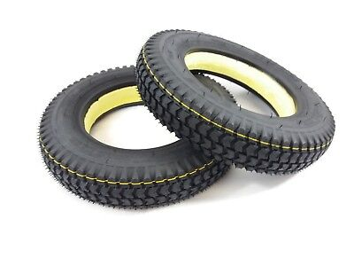 Pair of 3.00-8 Black Solid Mobility Scooter Tyres (Good Care) 300 x 8 #NEW