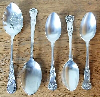 LOVELY VINTAGE 1930s SET 5 SHEFFIELD SILVER PLATED KINGS PATTERN SERVING SPOONS