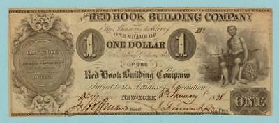 1838 Red Hook, Ny Building Co. $1.00 Obsolete Currency  Note # 6519