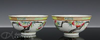 Fine Pair Of Antique Chinese Porcelain Bowl With Peach Branches And Marks