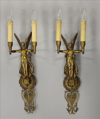 Antique Large PAIR bronze empire Caryatid winged lady sconces wall lights 1925