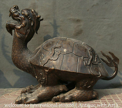 """30"""" Old Larger Chinese Feng Shui Bronze Dragon Turtle Tortoise Longevity Statue"""