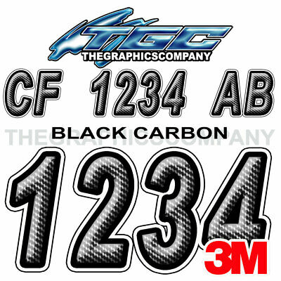 Black Carbon Custom Boat Registration Numbers Decals Vinyl Lettering Stickers
