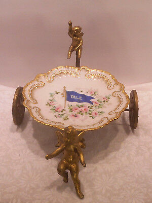 Antique 1891 - 1900 Limoges Porcelain YALE University Flag Plate Painted Roses