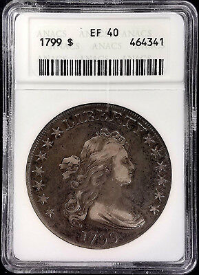 1799 $1 Draped Bust Silver Dollar certified EF 40 by ANACS!