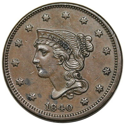 1840/18 Braided Hair Large Cent, Small over Large Date, N-2, nice AU