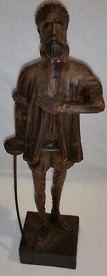 """OURO Artesania DON QUIXOTE Carved Wood Figure 14"""" Made in Spain No. 580-1"""