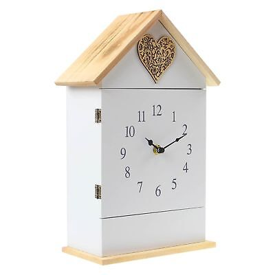 Wall Mounted Or Free Standing Clock With Key Holder 6 Hook Love Heart House Shap