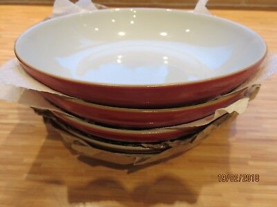4 Denby Everyday Salsa Red Pasta Bowls Brand New