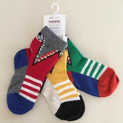 """Hanna Andersson AWESOME Boys 3 Pairs """"MONSTER"""" Socks, Shoe size 5/7 NEW!!"""