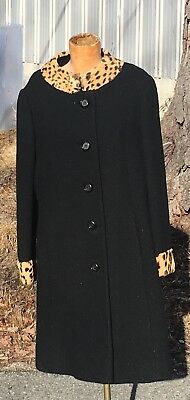 1940's vintage Ladies wool coat ,Black w/ Leopard Collar and Cuffs , Size 8