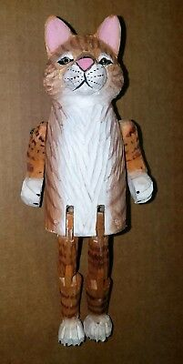 Wooden Orange & White Cat with movable Legs & Arms