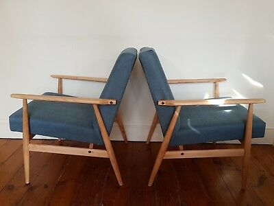 Two Mid Century Vintage Danish style Lounge Arm Chairs 1960s-70s
