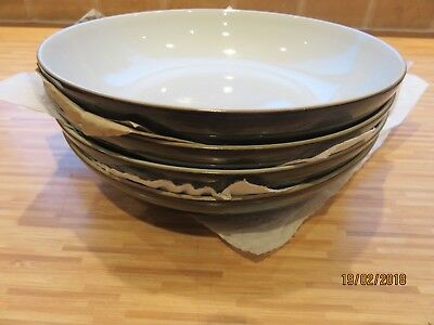 4 Denby Everyday Black Pepper Pasta Bowls Brand New