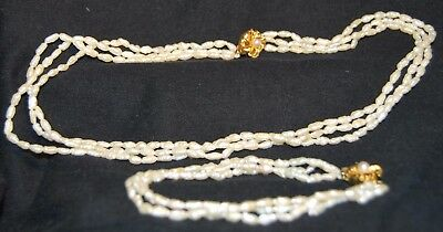 Vintage Fresh Water Pearl 3 Row Necklace & Matching Bracelet