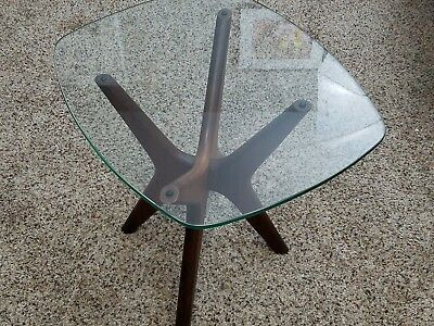 Vintage Adrian Pearsall X Jacks Walnut Glass End table Pedestal Mid Century