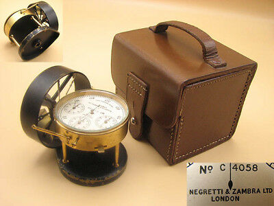 Negretti and Zambra London air meter anemometer in leather case
