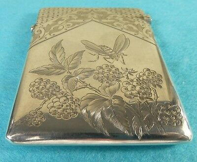 Superb Sterling Silver Card Case Bees Flowers Aesthetic Movement W Summers 1883