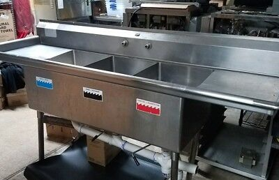 3 bowl stainless steel sink
