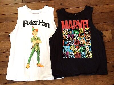 Lot of 2 T Shirts Marvel Ripped & Disney Peter Pan Muscle Tank Top Size Large L