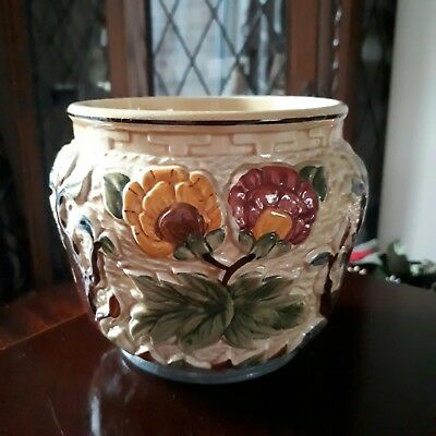 """""""Indian Tree"""" Hand Painted Plant Pot/Bowl/Jardinere by H.J. Wood"""