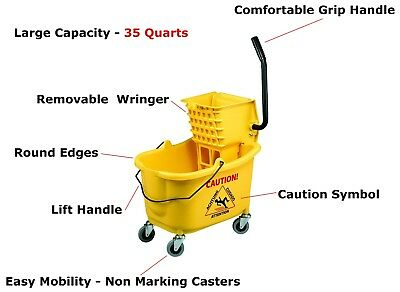 35 Quart Commercial Wet Mop Bucket Wringer Combo Yellow Janitorial Cleaning Qt
