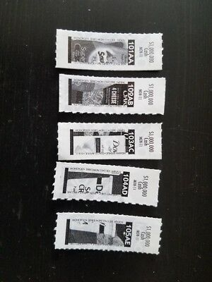 5 out of 8 $1 Million Monopoly Safeway ticket pieces