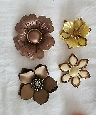 VTG Metal ENAMEL FLOWER PIN Lot of 4 - BROWN CREAM GOLD Colors Rhinestones