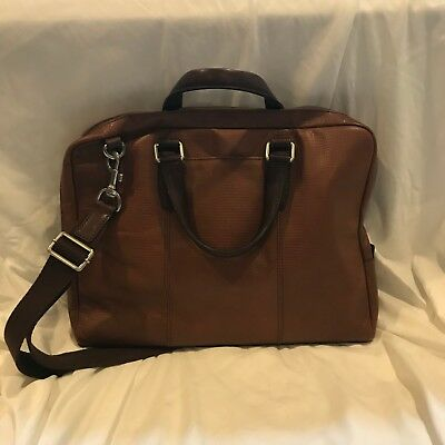 New Fossil Briefcase brown and caramel leather Great for male or female