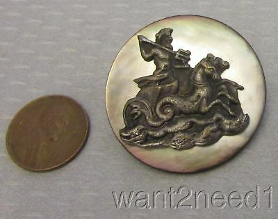 antique mother of pearl metal CHARIOT OF POSEIDON PICTURE BUTTON large 35mm