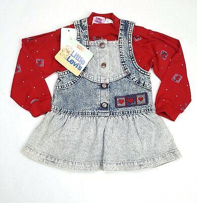 LEVIS Toddler Denim Dress Size 18M With Shirt Overalls Acid Wash VTG Deadstock