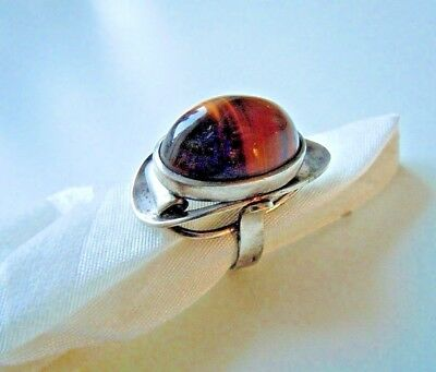 """Imper.Russian 84 Silver Ring with stone """"Tiger's eye"""" dynasty of the Romanovs"""