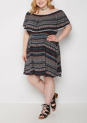 Tribal Flounce Dress 1x & 3x Plus Size Torrid Forever 21 Plus