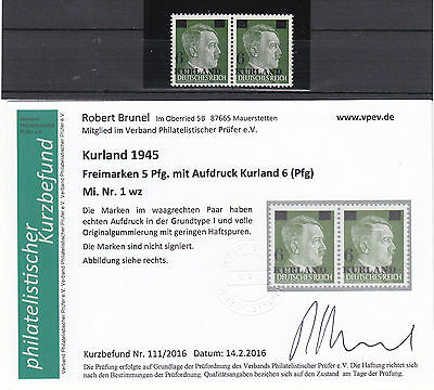WW2 / WK2 , 1945  Kurland , MiNr. 1 wz **/ MNH , Germany Occupation + Attest