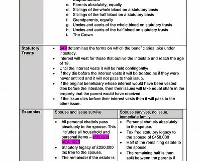 Wills and Administration of Estates LPC Uni of Law notes