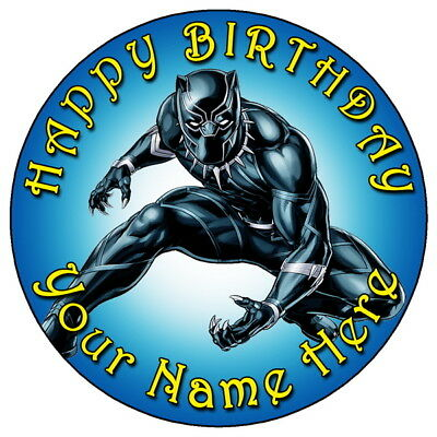 """Black Panther Marvel Avengers - 7.5"""" Personalised Edible Icing Cake Topper (1)"""