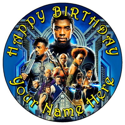 """Black Panther Marvel Avengers - 7.5"""" Personalised Edible Icing Cake Topper (4)"""