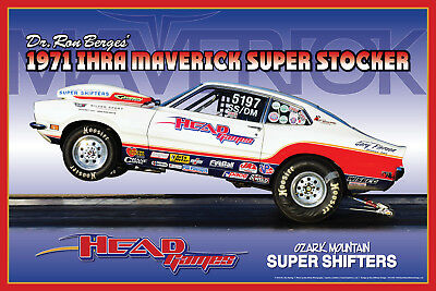 """1971 Ford Maverick Ron Berges """"Head Games"""" NHRA IHRA Drag Race Poster"""