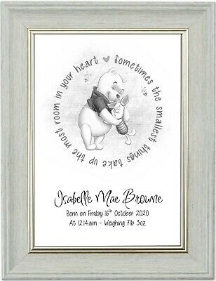 Winnie the Pooh Piglet Personalised New Baby Christening Gift A4 Print Only
