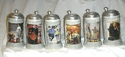 Norman Rockwell Set Of Six Pewter Lidded Beer Steins Saturday Evening Post