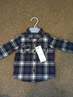 3-6 Month Baby Boys Blue Checkered Shirt F&F Brand New With Tags