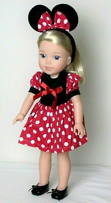 """Minnie Mouse Dress Red For 14.5"""" Wellie Wishers American Girl Doll Clothes 2 PC"""