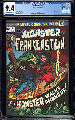 Frankenstein 5 - Marvel 1973 Cgc 9.4 Nm Off White To White Pages