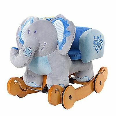 Labebe Child Rocking Horse Plush Stuffed Animal Rocker Toy 2 in 1 Blue Elephant