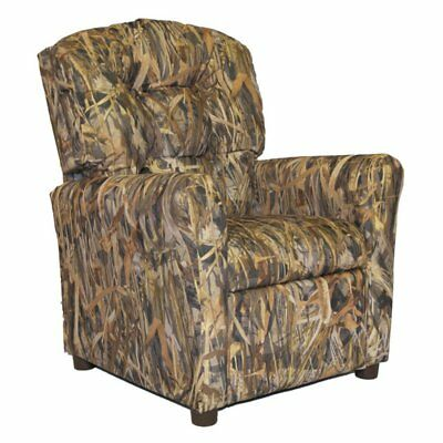 Brazil Furniture Waterfall Back Child Recliner.Brazil Furniture 4 Button Back Child Recliner Sassy Camo Pink