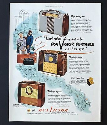 1949 RCA Victor Portable Radio Advertisement Color Original Vintage Print AD