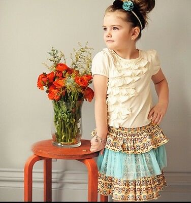 Taylor Joelle Designs Girl's Tiered Tutu Skirt Yellow & Blue Floral Size 8 NWOT